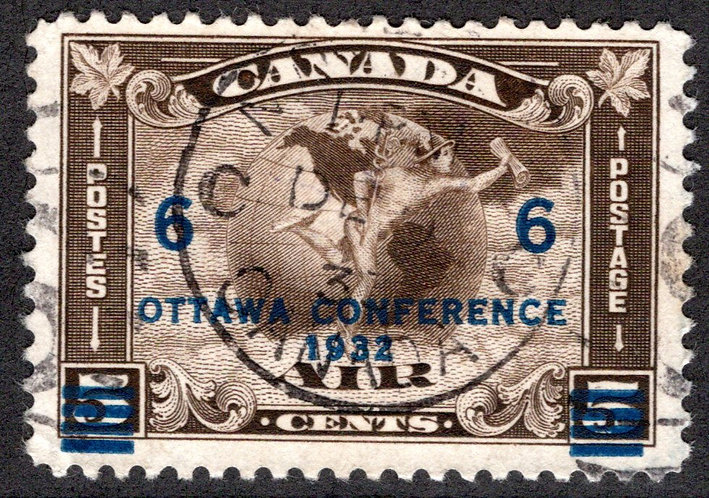 C4, C2 Surcharged, 6c on 5c olive brown, F/VF, Used, Canada Air Mail Stamp