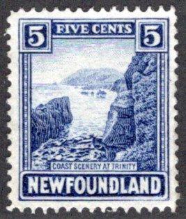 127, NSSC, Newfoundland, 5¢ Coast of Trinity, ultramarine,MLHOG, VF,postage st