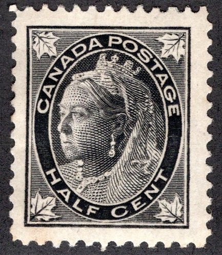 66 Scott - 1/2c black, VF, MHOG, VERY LARGE BORDERS, Small Queen Issue