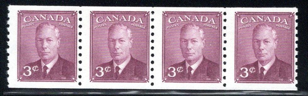 "Scott 299, Strip of 4, KGVI ""with Postes / Postage"", strip of 4, Canada"