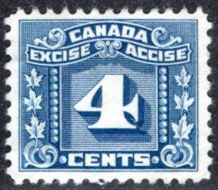 van Dam FX65, 4c blue, Three Leaf Excise Tax, F/VF, Canada Federal Excise Revenu