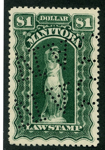 van Dam ML113 - Manitoba Law - $1 Green, Used, 1897-1901, Six Scallops