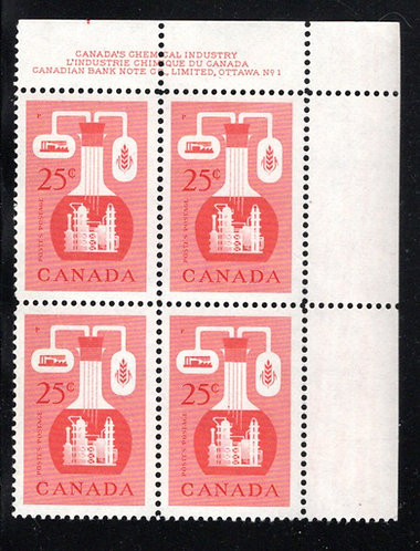 363, Scott, 25c red, PB1,UR, MNHOG, Chemical Industry, Canada Postage Stamps