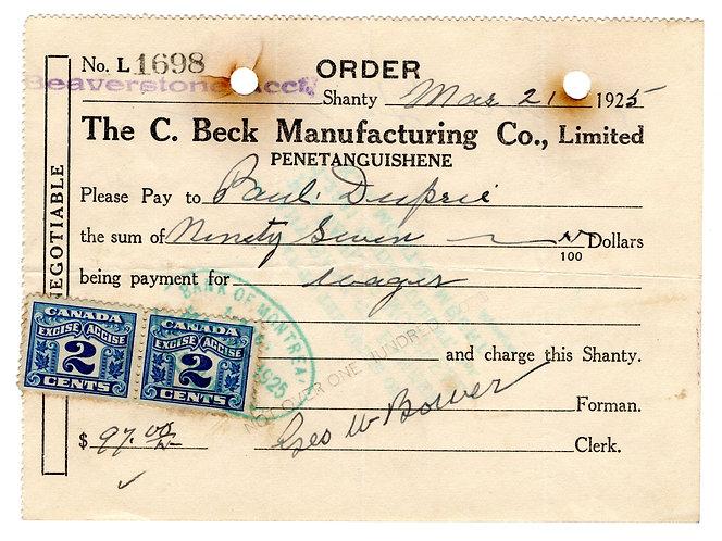 "van Dam (2) FX36 2c- on document, ""The C. Beck Manufacturing Co. Limited PENETA"