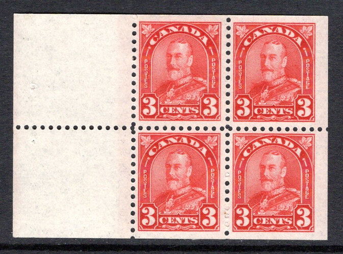 "167a, Canada, 3c deep red, ""Arch"" issue, booklet pane of 4x12+2 labels, F/VF, MH"