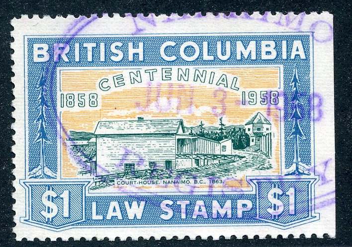 van Dam BCL49 - $1 blue - Used - British Columbia Law Stamp - 1958 Centennial