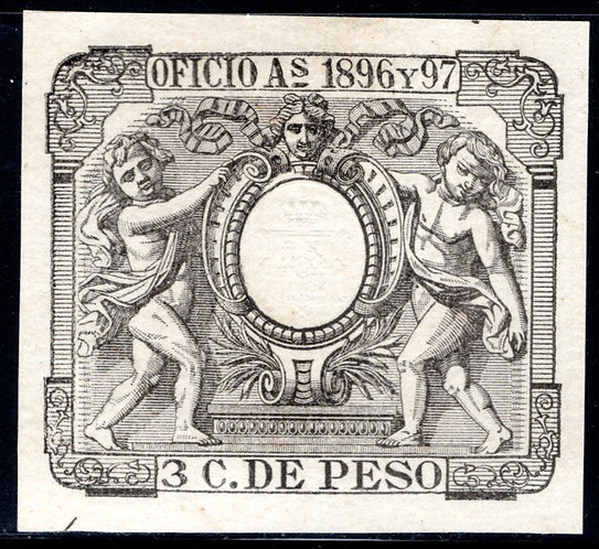 Cuba, 1896-7, 3C DE PESO,OFICIO,Selaed Paper, Cut-Square, Used, Wove