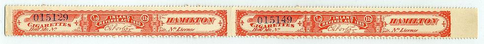 Ryan RC5 imperforate horizontal pair  - 1880Cigarette Stamp / Strip- Not More