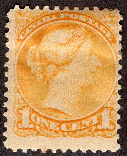 35i Scott - 1c yelloe, F, MHOG, Small Queen Issue
