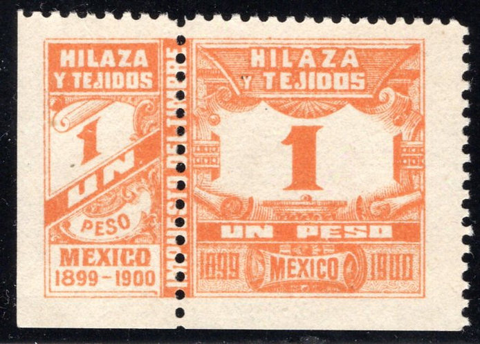 HT 43A, 1P, 1899-1900, Numerals on scroll, MNH Beauty, VF+, Hilaza y Tejidos -