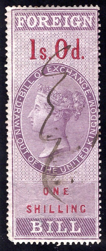 Britain, QV, Foreign Bill, Used, 1s.0d.