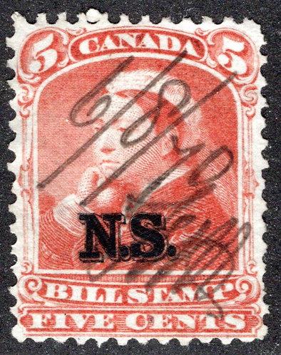 van Dam NSB6 - Nova Scotia Bill Stamp - 5c - Used VF