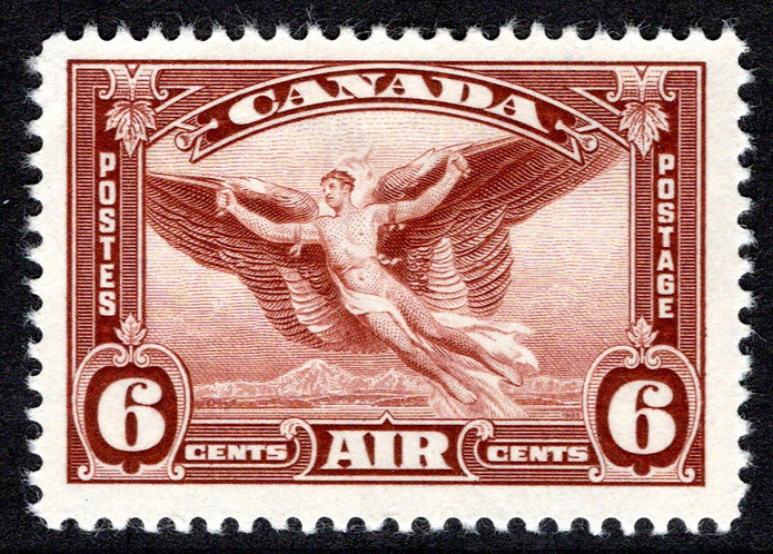 C5, 6c red brown, MLHOG, VF, Daedalus in flight, Canada Air Mail Stamp