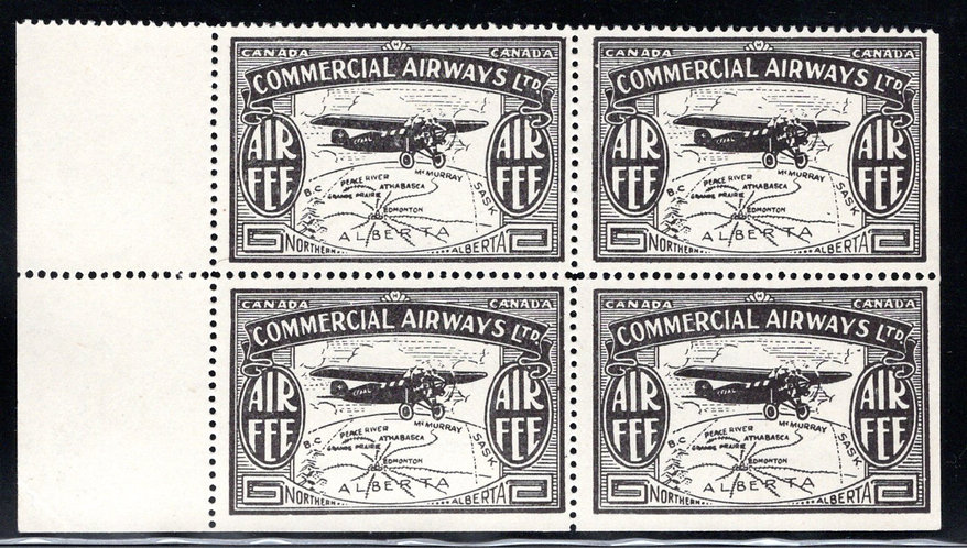 CL48, Canada, 10c, Commercial Airways Ltd., MNHOG, block of 4, Private Commercia