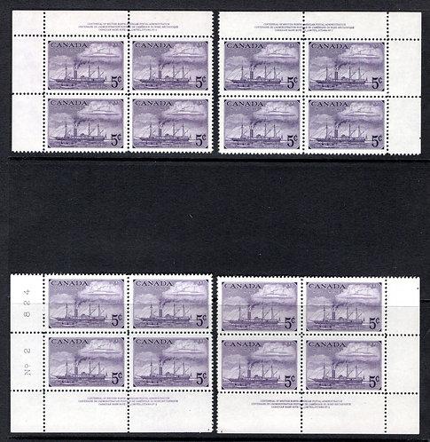 "312, Scott, ""Steamships"", 5c, purple,PB2, Matched Set of 4 Blocks,MNHOG, Canad"