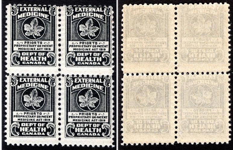 Van Dam FM2, Heavy OFFSET ERROR,Block of 4, MNHOG,1919 black,Federal Medicine