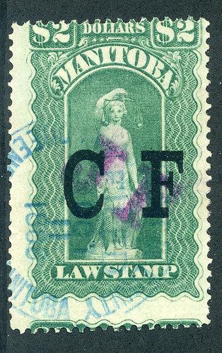 "van Dam ML88 - Manitoba Law - $2 ""JF on CF"" Green, Used, 1888, Nine Scallops"