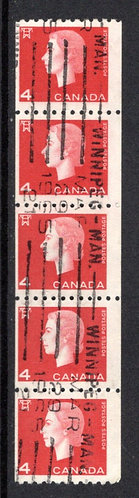 408, Scott, 4c, Used, F, strip of 5, Cameo Issue Coil Stamps, Canada Postage Sta