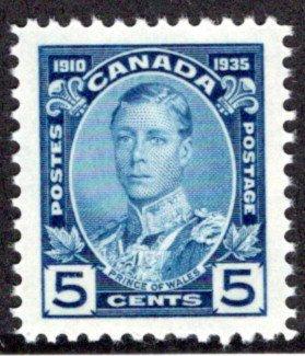 214, 5c Prince of Wales, MNHOG, VF/XF, 1935, Canada Postage Stamp