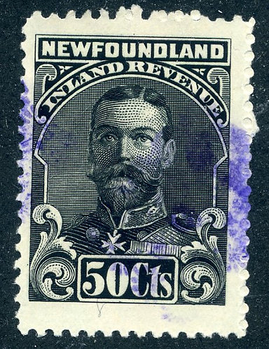 """R19, NSSC - Used - 1910 George V - 50c black - Inland Revenue - """"No Bank Note C"""