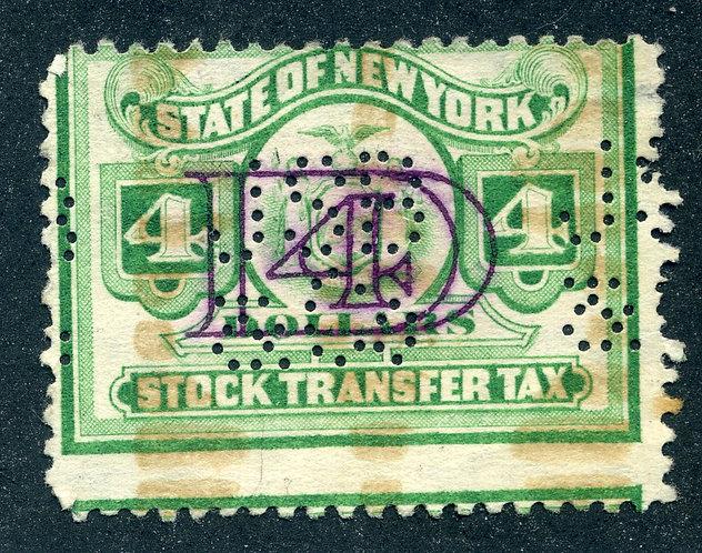 NY ST155 - $4 Stock Transfer - Misperf Error - perfin