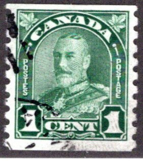 "179 Scott, Canada, 1c, Used, VF, KGV ""Arch / Leaf"" Issue, coil"