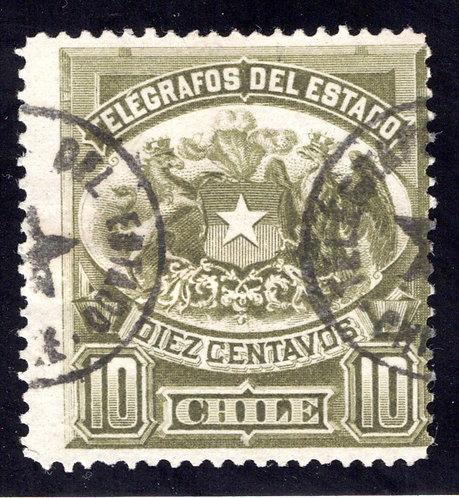 Chile, Telegraph, 10c, 1883, p.12, Type1, H2, used, Telegrafos Del Estado