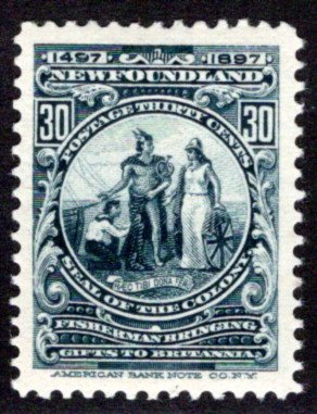 63, NSSC, Newfoundland, 30c, slate,Colony Seal,MLHOG, F/VF