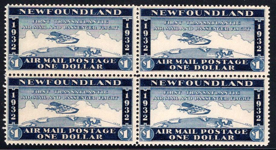 AMTE4, NSSC, Newfoundland, Canada,$1, Block of 4,First Transatlantic Air Mail