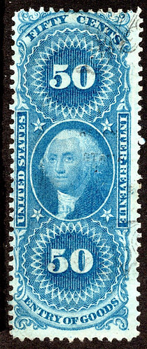 R55d, 50c, Silk, Entry of Goods, Blue, Fine, USA Revenue