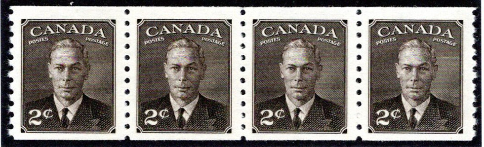 """Scott 298 coil, strip of 4,2c King George VI """"withPostes / Postage"""", Canada"""