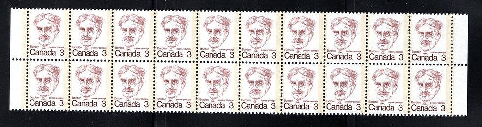 588 Scott, 3c brown, Block of 20, MNH, VF, Caricature Definitives