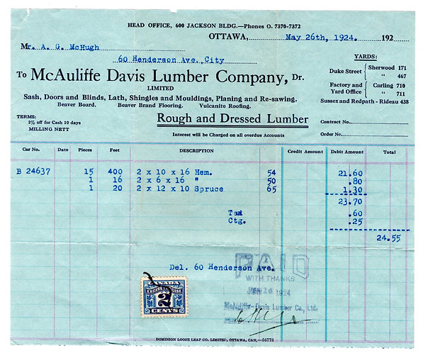 van Dam FX36, 2c, Two Leaf, on Receipt from Lumber Company, Canada