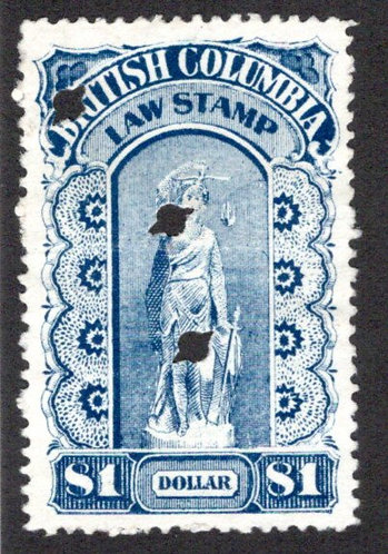 van Dam BCL15 British Columbia Law Stamp - $1 - Third Series, p.12, VF - 1893-19