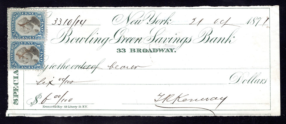 R103 (2) - 1c - F/VF - on cheque - Bowling Green Savings Bank, NY - Second Issue