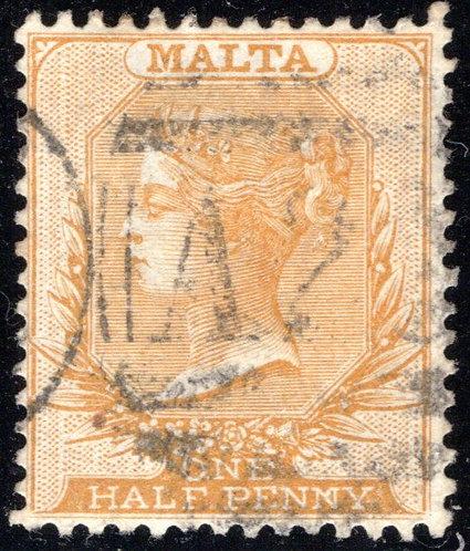 7 Malta, ½p Orange, wmk. 2, p.14, used, EF/XF