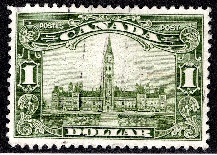 "159 Scott - $1 olive green, VF, Used, 1929,Parliament Building, KGV ""Scroll Issu"