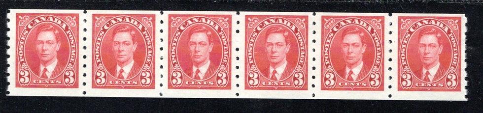 240 Scott, Canada, 2c MNHOG, F, Strip of 6, KGVI Coil Stamps
