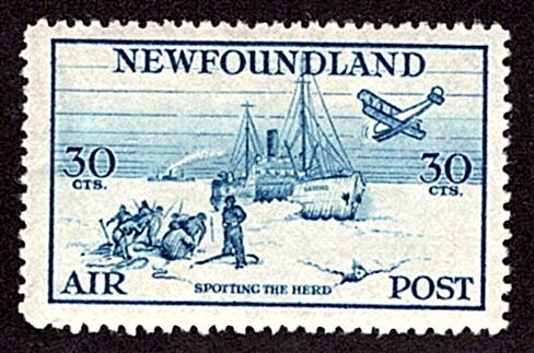 AM16, NSSC, 30¢ Spotting the Herd, blue, perf. 14.3, F, MLHOG, Newfoundland Air