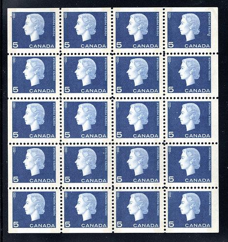 "405b Scott, 5c blue, F/VF, Queen Elizabeth ""Cameo"", Miniature Pane of 20 (4x5) M"