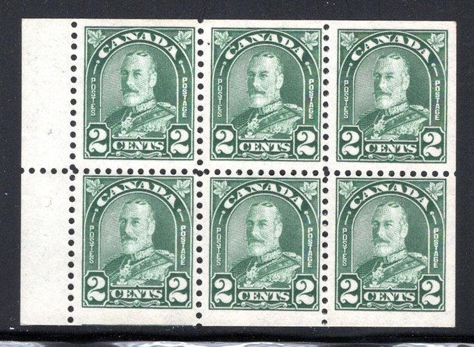 164a, Scott, 2c , F, MNHOG, issue, booklet pane of 6x2c (Bk 15), Canada