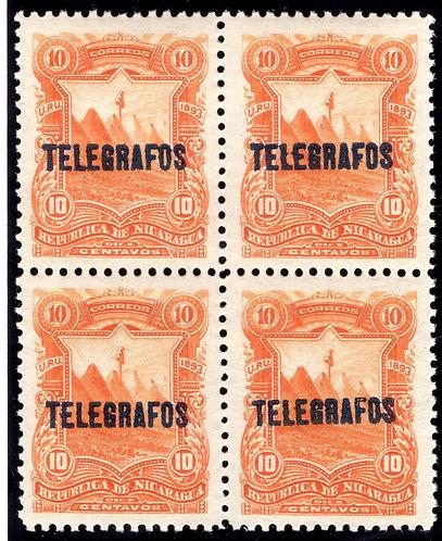RH#29,H29, Type 6 - 5c green- MNHOG - XF block - Nicaragua Telegraph Revenue