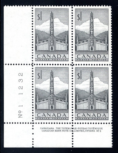 Scott 321, $1 grey, Plate Block 1, LL, MNHOG, VF, Canada Postage Stamp
