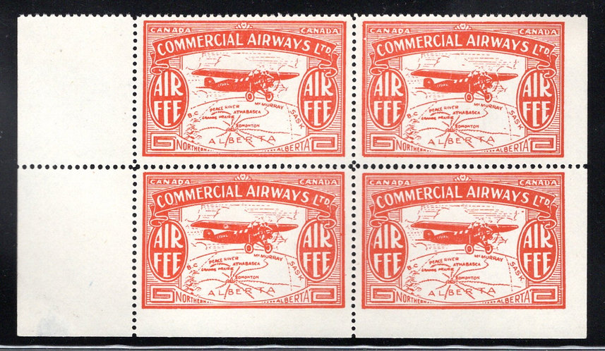 CL50, Canada, 10c orange, Air Fee, CommercialAirways Ltd.,MNHOG, block of 4, 1