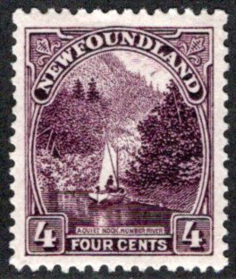 126, NSSC, Newfoundland, 4¢ Humber River, brown violet,MLHOG, VF,postage stamp
