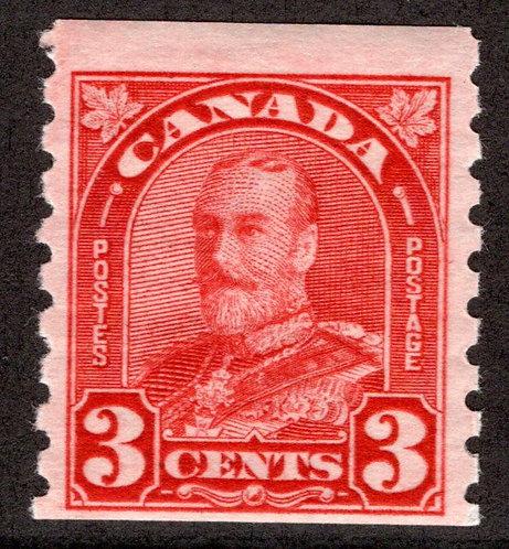 """183 Scott, KGV """"Arch/Leaf"""", 3c, deep red, MLHOG,F,Canada Coil Stamp"""