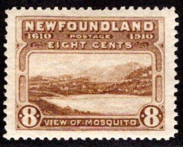 91, NSSC, Newfoundland, 8c, bistre brown, Mosquito, p14.2, MLHOG, F/VF