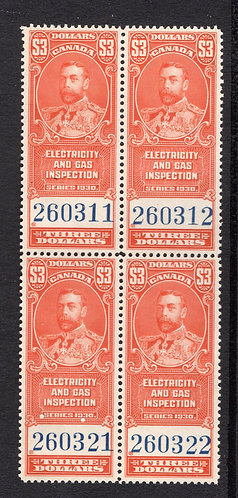 van Dam FEG6, $3, vermillion, MNHOG, block of 4, 1930,  George V, Electricity an