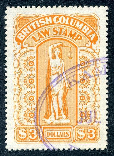 "van Dam BCL55a - $3 orange - ""very thick stiff paper"" - British Columbia Law Sta"