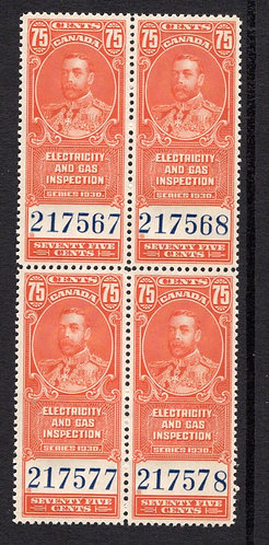 van Dam FEG3, 75c, vermillion, MNHOG, block of 4, 1930,  George V, Electricity a